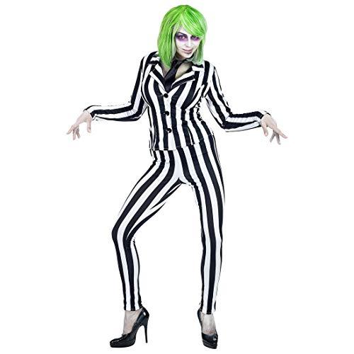 Für Bösewicht Kostüm Damen - NET TOYS Attraktives Joker Kostüm für Damen | Schwarz-Weiß in Größe L (42/44) | Extravaganter Frauen-Anzug Bösewicht | Perfekt angezogen für Halloween & Mottoparty