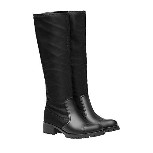 Bottes biker Prada pour femme en cuir et tissu noir - Code modèle: 3W6110 1O4R F0002 Noir