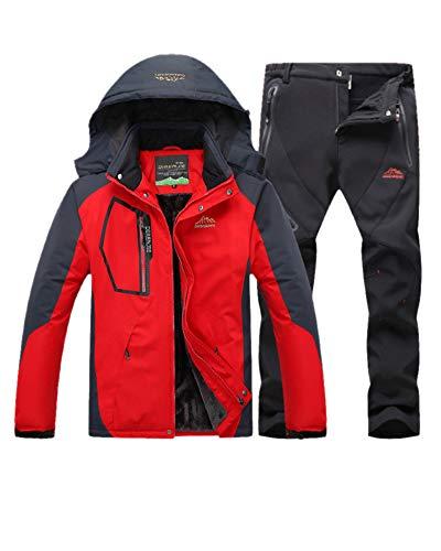 LiangZhu Herren Skijacke Segeljacke Snowboarjacke Warme Outdoorjacke Wasserdicht Atmungsaktiv Top + Hose Zweiteilig Rot Schwarz M