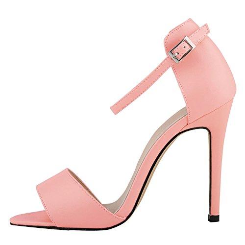fereshte Damen Ankle Strap Hohe Stiletto-Absatz Büro Sandale 14Farben Rose