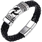 Black Genuine Leather & 316L Stainless Steel Link Bracelet