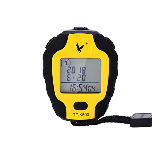 Digitale professional cronometro 3 righe 500 memoria con ampio display lcd, funzione bluetooth, conto alla rovescia, sveglia e calendario, nero