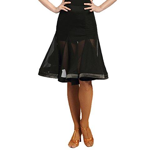 G2041 Latin Tanz lichtdurchlässige Garn-verbundene Fischgrätenschwingen Röcke angeboten von GloriaDance (black, small)
