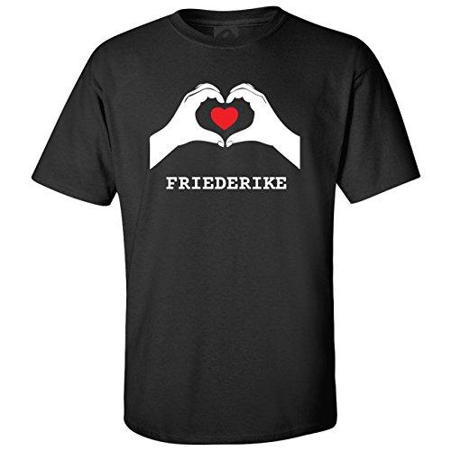 JOllify T-Shirt FRIEDERIKE T5377 - Farbe: schwarz - Design 7: Hände Herz - Größe M