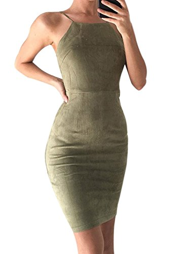 Minetom Damen Bodycon Strecke Ärmellos Bleistift Club Cocktailkleid Partei Abend Minikleid Grün DE 36 (Stretch-hip Cotton Brief)