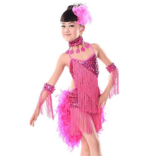 Daytwork Franse Latein Tanzen Kleid Mädchen Rock - Schlinge Quaste Pailletten Salsa Samba Rumba Tango Jazz Performance Kostüm Kinder Wettbewerb