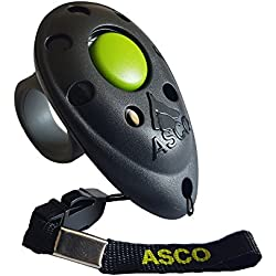 ASCO Clicker professionnel pour doigt, Entraînement Dressage pour chiens chats chevaux, Finger Clicker de formation, noir AC01F