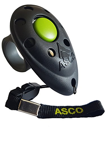 ASCO Premium Clicker , Finger Clicker für Clickertraining , Hunde Katzen Pferde Profi Clicker , Hundetraining Klicker schwarz AC01F
