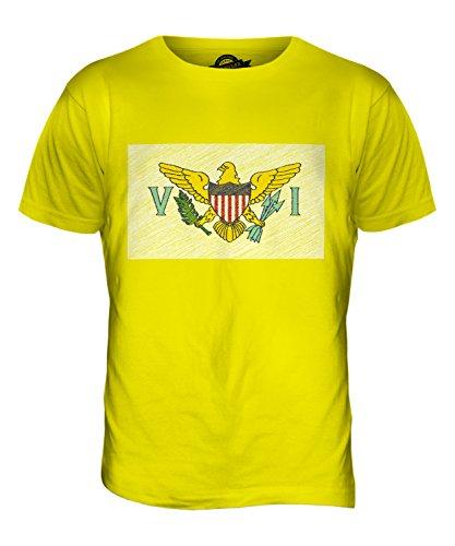 CandyMix Amerikanische Jungferninseln Kritzelte Flagge Herren T Shirt Zitronengelb