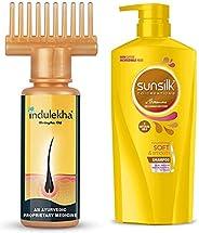 Indulekha Bhringa Hair Oil, 100ml & Sunsilk Nourishing Soft & Smooth Shampoo 650ml