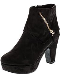 35a7fd525235 H+D Damen High Heels Stiefeletten mit Plateausohle in Wildlederoptik  Reißverschluss