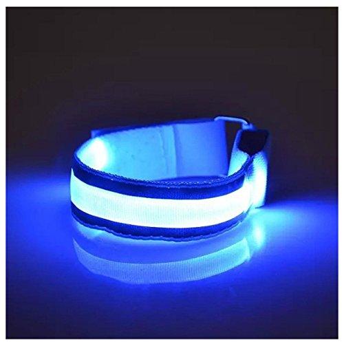 Sannysis Brazalete led Running, Luminosas Clip de Reflectores Glow Pack LED Accesorios de Luces Reflectantes (Azul)