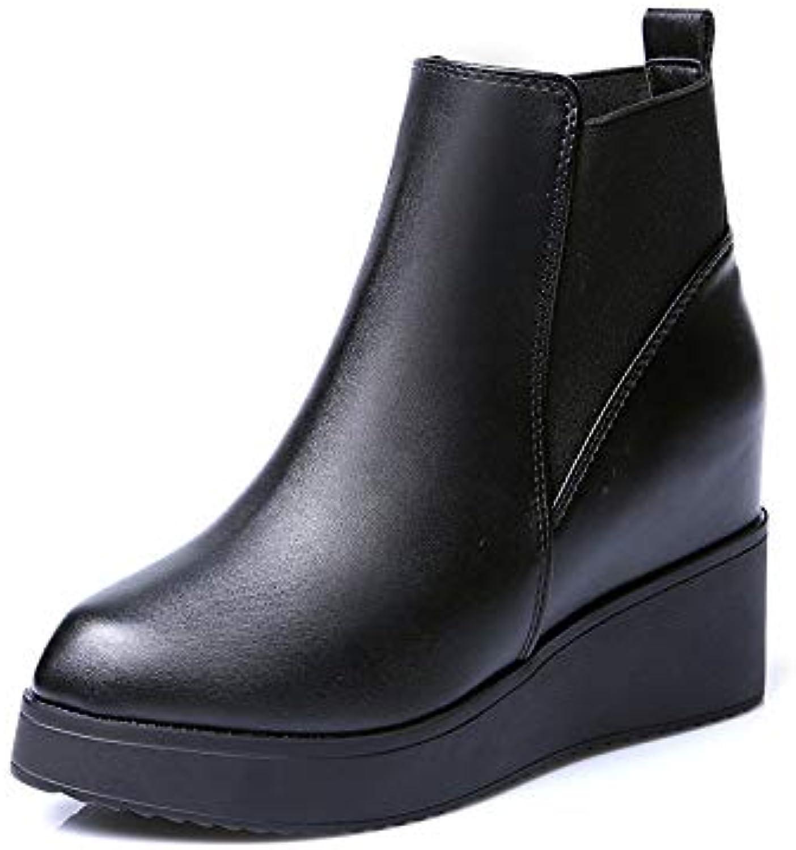 YXIAOL - Stivali da Donna in Pelle, con Tacco Alto e Zeppa, per Autunno e Inverno, neroplusvelvet, 38   Vari I Tipi E Gli Stili    Scolaro/Signora Scarpa