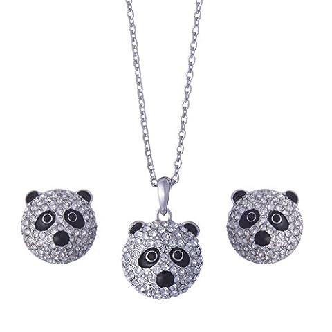 Galaxy Jewellery Ohrringe & Anhänger Halskette Panda Set mit Swarovski Kristallen - Ideal für Frauen und Mädchen - kommt mit Luxus Geschenkbox