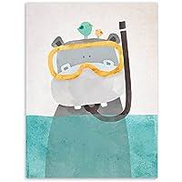 Póster Pared Lienzo Oso Polar Hipopótamo Pingüino Animales Mural Decoración Infantil Dormitorio Cuadros Niños Sin Marco