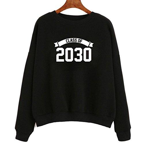 Pullover Top, Kword Doona Manica Lungà ' Classe 2030 ' Lettera Stampata Felpa Autunno Camicetta, Senza Cappuccio Nero