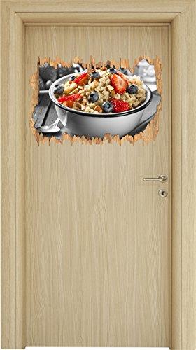 Süßes Früchte Müsli schwarz/weiß Holzdurchbruch im 3D-Look , Wand- oder Türaufkleber Format: 62x42cm, Wandsticker, Wandtattoo, Wanddekoration (Schüssel Weiße Milch)