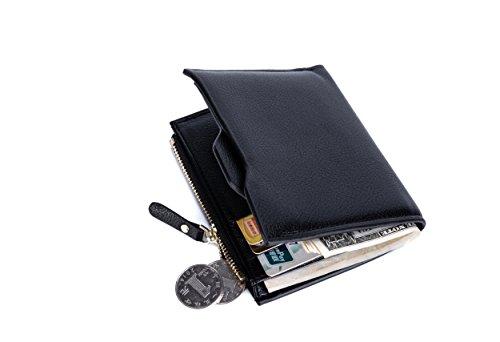 RFID Blocking Geldbörse,Aokey Echtes Leder Slim Geldbörse Kreditkartenhalter RFID Schutz Kreditkarteninhaber Wallet Geldscheinklammer Safe für Reisen/Alltag,Arbeit/Business,Männer,Geschenkbox(Schwarz)