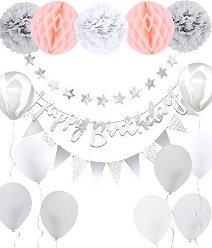 osa Grau Happy Birthday Ballons Banner Pompoms Geburtstagsdeko Party Dekorationen ()