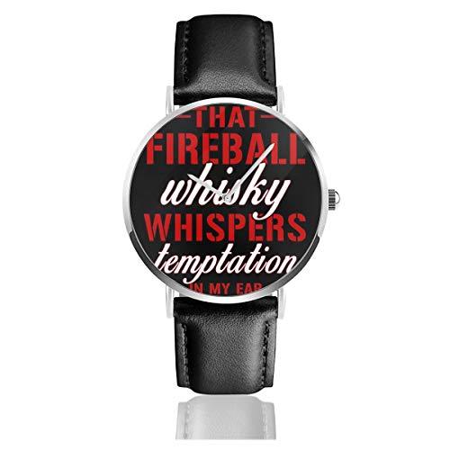 Unisex Business Casual Fireball Whisky Uhren Quarz Leder Uhr mit schwarzem Lederband für Männer Frauen Young Collection Geschenk