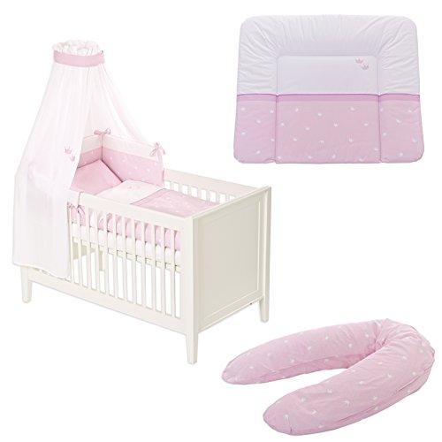 Preisvergleich Produktbild Träumeland Bettset 6-teilig inkl. Wickelauflage + Stillkissen Krönchen rosa