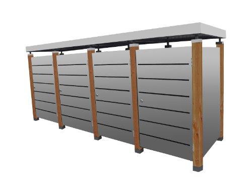 Mülltonnenbox Modell Pacco E Line für vier 240 ltr. Tonnen in Edelstahloptik mit Pflanzwanne
