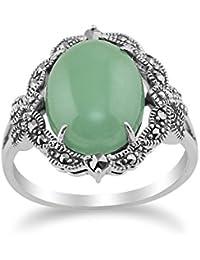 Gemondo Plata De Ley 925 Art Nouveau Inspiración Vintage Jade Verde & Marcasita Anillo De Tendencia