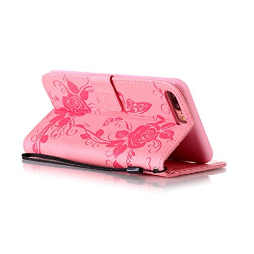 iPhone 8 Plus Étui en cuir, iPhone 7 Plus Housse de portefeuille, Lifetrut [Papillons en relief] Design Flip Folio portefeuille en cuir couverture de cas pour iPhone 8 Plus/ iPhone 7 Plus [Pink] E206-Pink