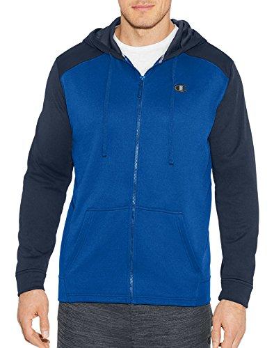 Champion Mens Tech Fleece Full Zip Hood S Blue Fleece Full Zip Hood