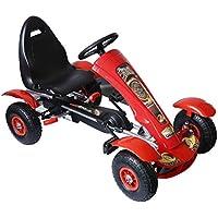 HOMCOM Coche de Pedales Go Kart Racing Deportivo con Asiento Ajustable Embrague y Freno para Niños