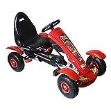 HOMCOM HomComCoche de Pedales Go Kart Racing Deportivo con Asiento Ajustable Embrague y Freno para Niños 3-8 Años Carga 50kg 80x49x50cm Acero