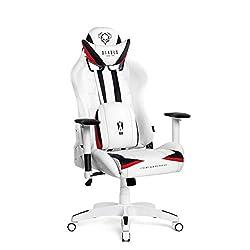 Diablo X-Ray Gaming Stuhl Bürostuhl Schreibtischstuhl 2D Armlehnen Ergonomisches Design Kunstleder Perforation Wippfunktion Belastbarkeit bis 150 kg (weiß-schwarz, Standard)