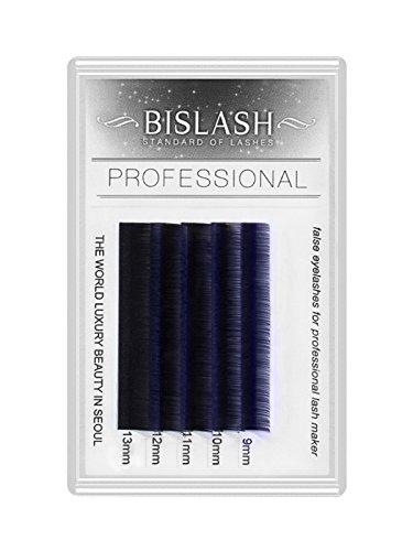 Farbige Wimpern BISLASH, Mini Lash, C Curl, Stärke 0.20, Zweifarbig, Ombré Blau, Länge:9-13mm Mix Mini Tray Blau Tray