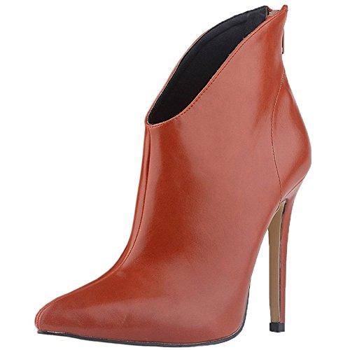 HooH Femmes Fermetures Éclairs Stiletto Escarpins Bottines Rouge