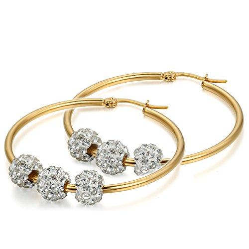 Flongo Zarcillos Pendientes colgante Mujer, Grandes Pendientes de Aro Bolitas de Diamante de imitación brillantes, Color dorado Atractivo