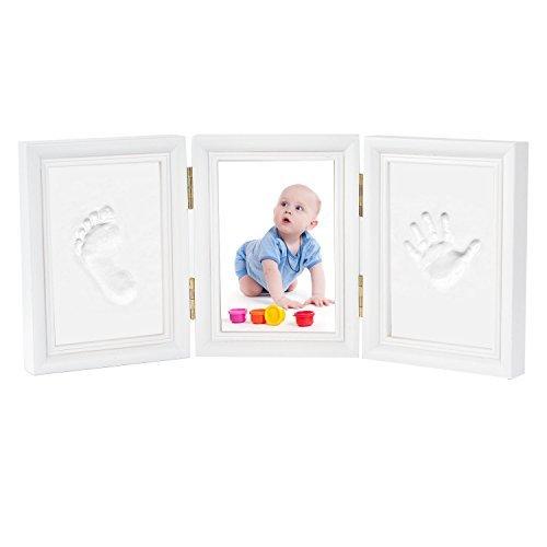 Kit de Marco Fotos de Madera, Marcos de Huellas de Mano y Pie con Yeso de Seguridad Regalo Perfecto para Bebés y Niños