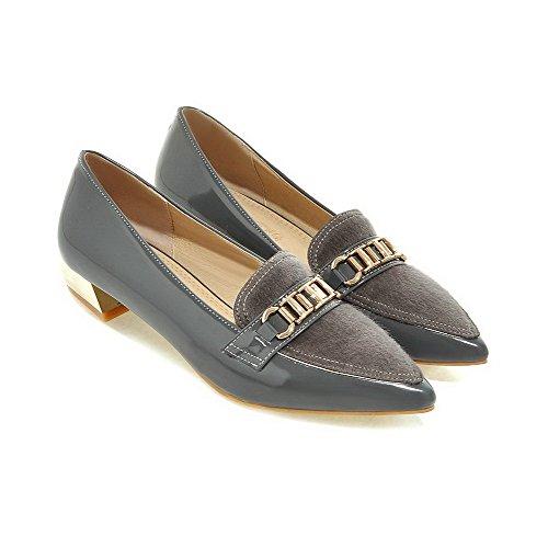 AllhqFashion Damen Blend-Materialien Eingelegt Spitz Zehe Niedriger Absatz Pumps Schuhe Grau
