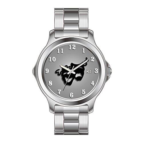 FDC Weihnachten Geschenk Uhren Damen Fashion Japanisches Quarz-Datum Edelstahl Armband Armbanduhr Komödie und Tragödie Theater Masken