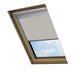 Bloc Skylight Blind for Fakro Roof Windows Blockout, Polyester, Pale Stone, 110x15x7 cm