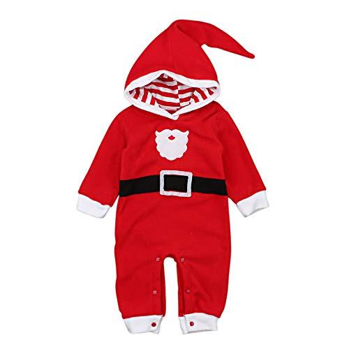 Baby Boy Girl - Mono de Franela con Capucha, diseño navideño de Papá Noel Rojo Rosso Talla:6-12 Meses