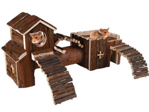 LIVIVO Aire de jeu en bois naturel pour rongeur,...