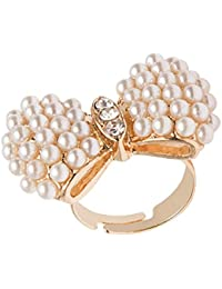 FreshVibes Pearl Studded Gold Plated Ring For Women – Adjustable Rings For Wiomen