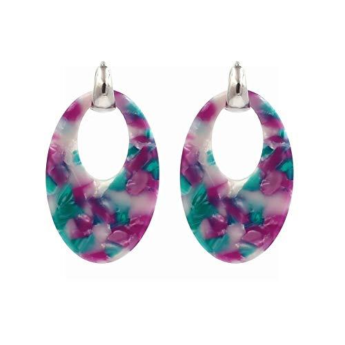 WANGLETA Ohrstecker Ohrhänger Geschenkidee für Frauen Europäische und Amerikanische minimalistische geometrische Acryl Ohrringe farbigen Stein Textur ovale Ohrringe lila grün (Amerikanische Mädchen-kleidung-speicher)