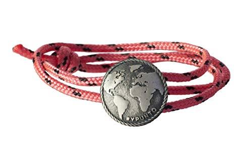 #YPUNTO Pulsera Unisex Hecha a Mano Medalla de Plata de Ley. Talla única con Sistema de Nudo corredizo. Cordón de Nylon Rosa con Detalles en Negro. Joya Moderna a Precio asequible