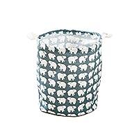 Jiechang Laundry basket, Waterproof Round Cotton Linen Collapsible Storage Clothes Basket (35cm, Polar Bear)