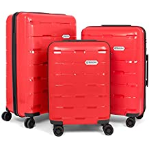 Master Gear polipropileno–Juego de maletas con 4ruedas (360grados)–Maleta, Viaje, TSA, apilable, 3piezas (S, M, L,)