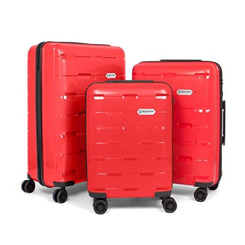 MasterGear Polypropylen Kofferset - mit 4 Rollen (360 Grad) - Trolley, Reisekoffer, TSA, stapelbar, 3-teilig (S,M,L,),rot