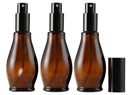 3 botellas de spray de cristal ámbar vacías de 100 ml para limpieza de perfume cosmético, con pulverizadores de niebla fina y tapa antipolvo