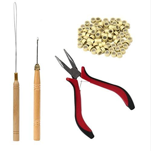 Rosennie Haar Extensions Haarverlängerung Werkzeug Haarverlängerung Microrings Echthaar Perücke Hair Extensions Tool Kit 1 x Zange, 1 x Zughaken, Perlen Werkzeug und 200 x Mikro Ringe (Beige)