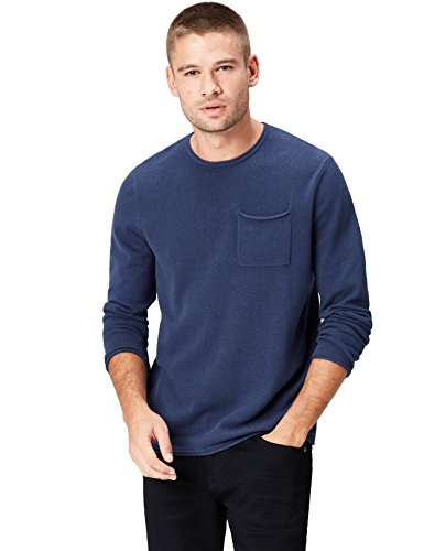 FIND Herren Strickpullover mit gerolltem Saum, Blau (Denim), Large (Denim Saum)